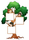 Kids on the tree with white board — Stock Vector