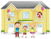 Familia enfrente de casa — Vector de stock