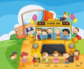 Autobús escolar de la escuela y los niños — Vector de stock