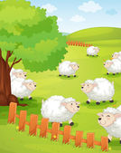 Lamb on green grass — Stock Vector