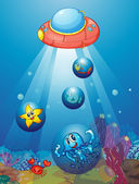 Submarine and fishes — Stock Vector