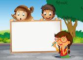 Kids and white board — Vector de stock