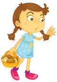 A girl carrying mushroom basket — Stock Vector