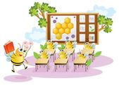 Honey bees in a classroom — Stock Vector