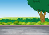 Tree beside road — Stock Vector
