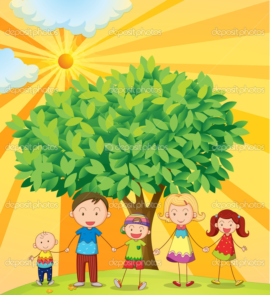 Illustration of family holding hands under the tree — Stock Vector #11519164