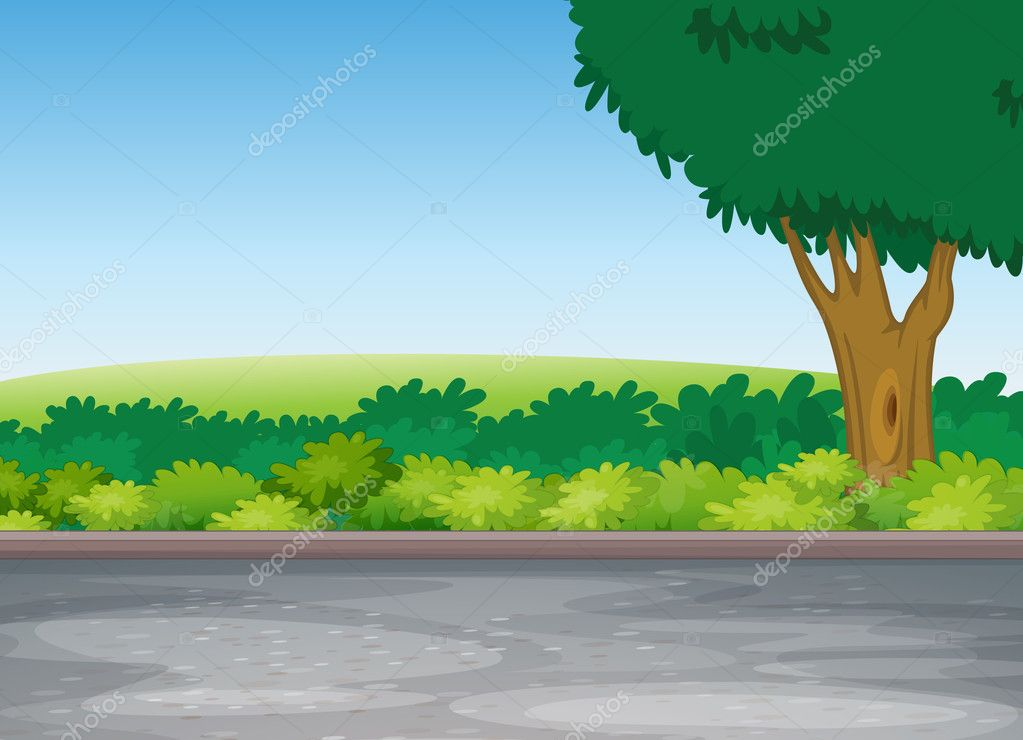 Illustration of tree beside road in a beautiful nature — Stock Vector #11519238
