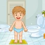 Child in bathroom — Stock Vector