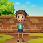 Boy standing in the yard — Stock Vector #11580351