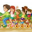 Family on tandem bike — Stock Vector