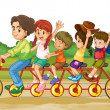 Family on tandem bike - Stock Vector
