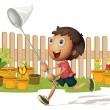 Boy catching butterflies — Stock Vector