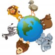 Various animals on earth — Stock Vector