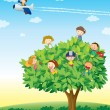 Kids playing on tree - Stock Vector