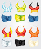 Female tops and bottoms — Stock Vector