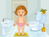 Child in bathroom — Stock Vector