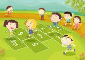 Jonge vrienden spelen Hinkelspel — Stockvector