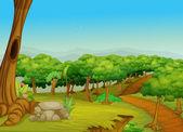 Prachtige bospad — Stockvector