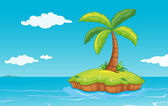 Palm tree on island — Stock Vector