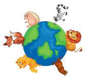 Divers animaux sur la terre — Vecteur