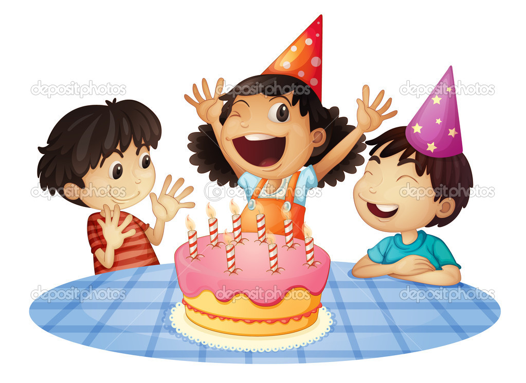Young kids at a birthday party — Stock Vector #11580593