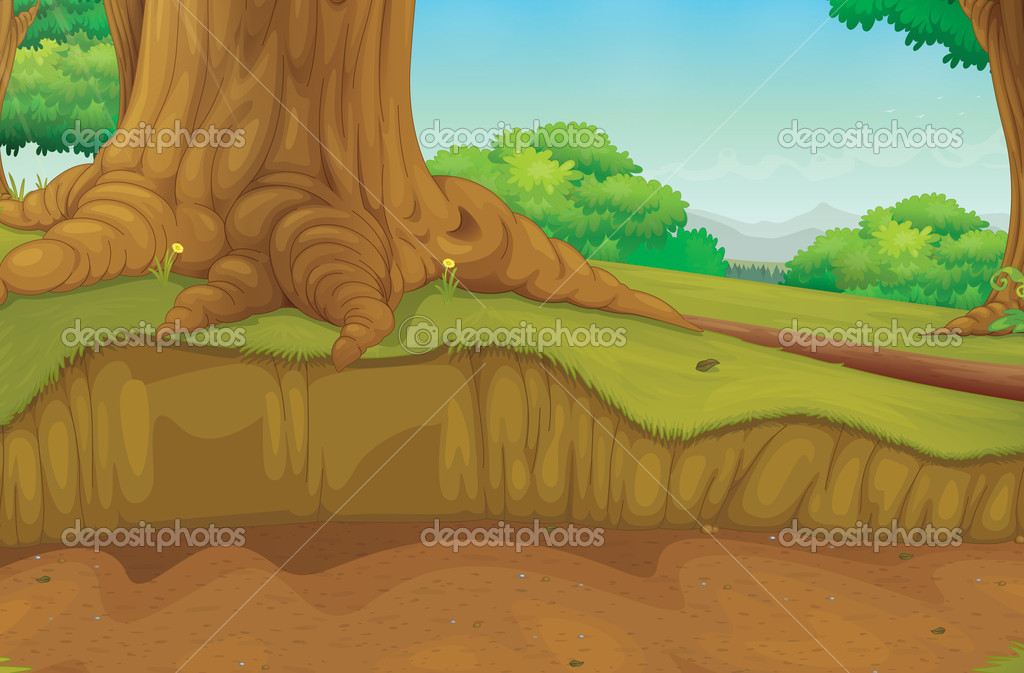 Forest scene at trunk of tree  Stock Vector #11580625