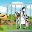 Lemur in cage - Stock Vector