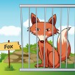 Fox in cage - Stock Vector