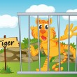 Tiger in cage — Stock Vector