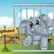 Elephant in cage — Stock Vector