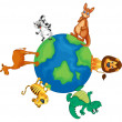 Stock Vector: Various animals on earth globe