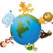 Various animals on earth globe — Stock Vector