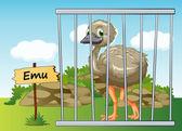 Emu in cage — Stock Vector