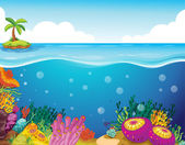 Coral y palmera — Vector de stock