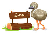 Emu and name plate — Stock Vector