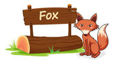 Fox and name plate — Stock Vector