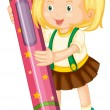 A girl holding pencil - Stock Vector