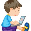 A boy and laptop — Stock Vector