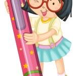 A girl holding pencil — Stock Vector #11947607