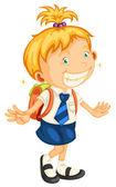 A girl going to school — Stock Vector