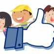 Kids showing thumb picture — Imagen vectorial