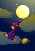 Witch on a broom — Stock Vector