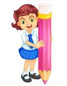 A girl holding pencil — Stock Vector
