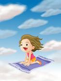 A girl flying on mat — Stock Vector