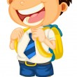 A boy going to school — Imagen vectorial