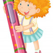 A girl holding pencil - 