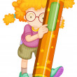 A girl holding pencil - Stockvectorbeeld