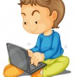 Stock vektor: A boy with laptop