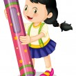 Stock Vector: A girl holding pencil