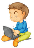 A boy with laptop — Stock Vector